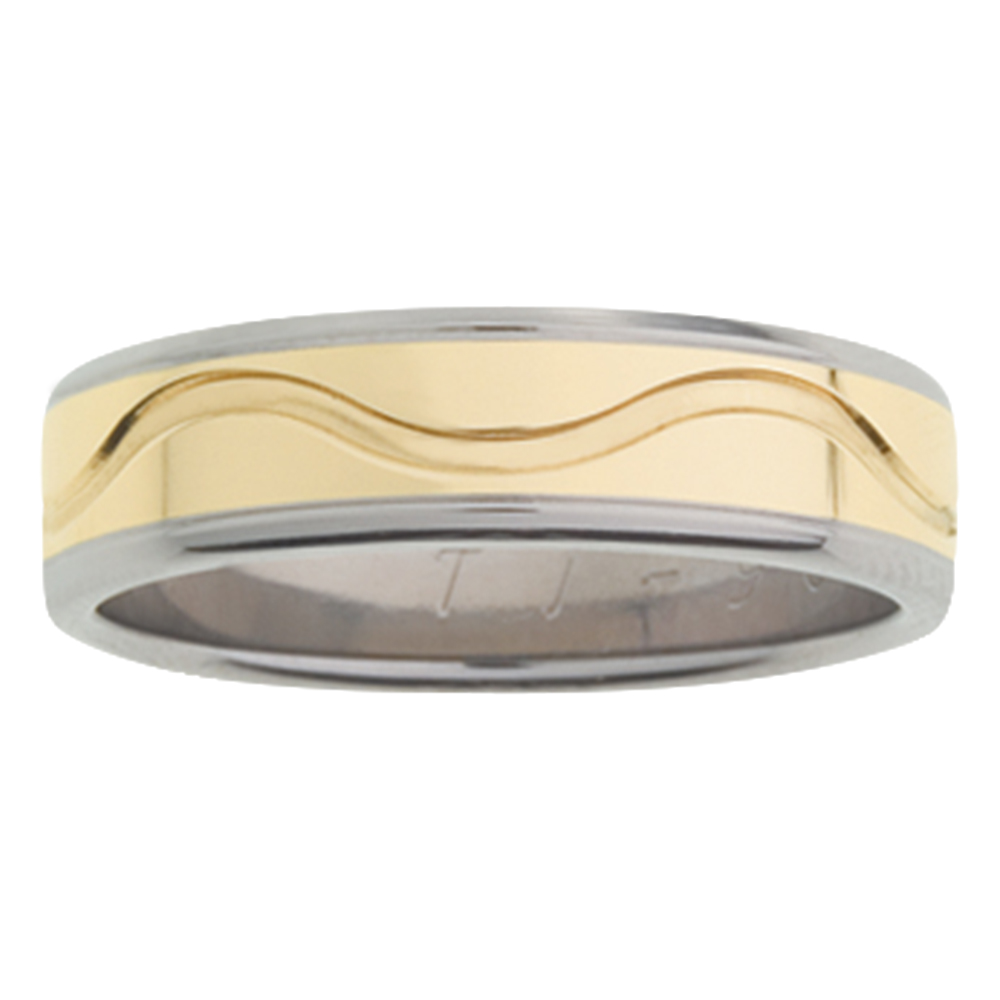 Wave Accent Groove Yellow Gold Titanium Mens Ring