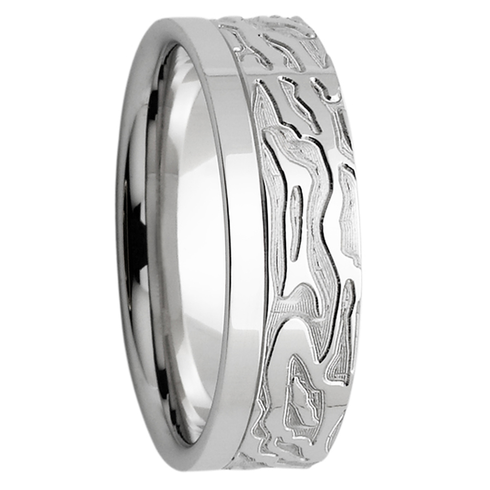 Wild Texture White Gold Mens Wedding Band