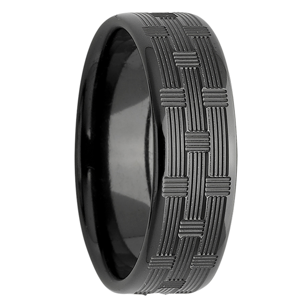 Cross Weave Black Zirconium Ring