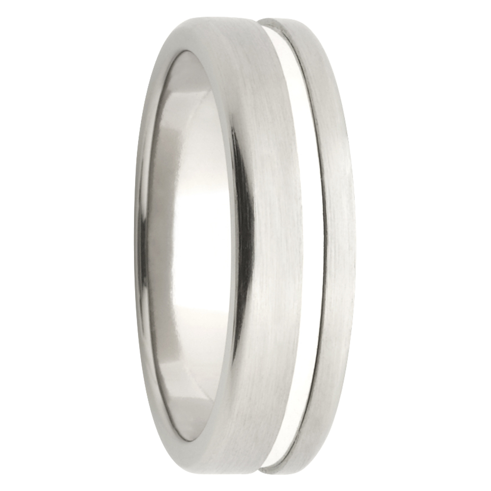 Brushed Titanium White Gold Inlay Mens Ring