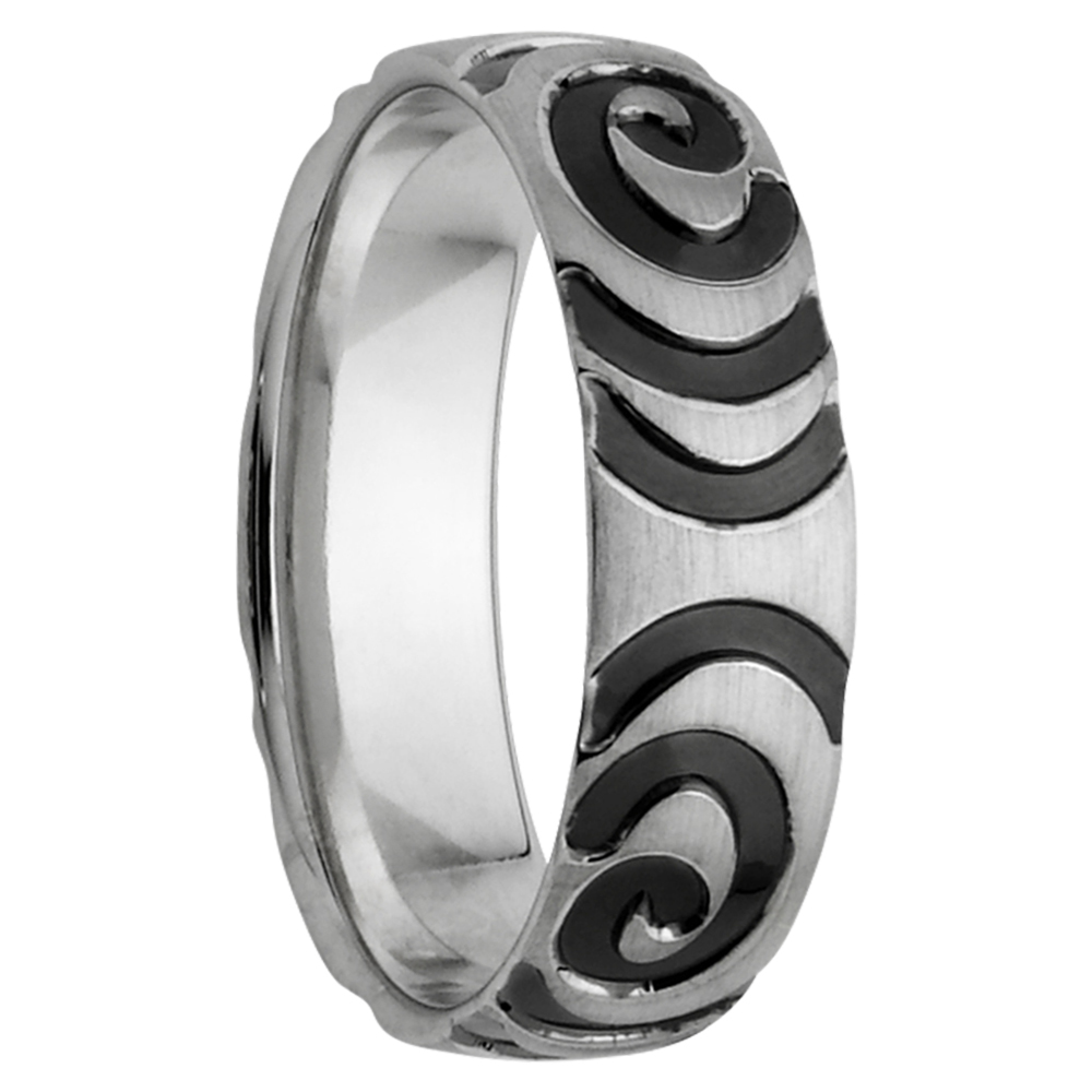Black Swirl White Gold Mens Ring