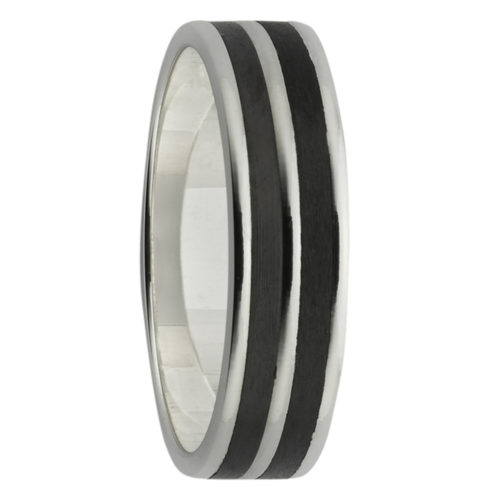 Sanded Inlays White Gold & Black Zirconium Mens Ring