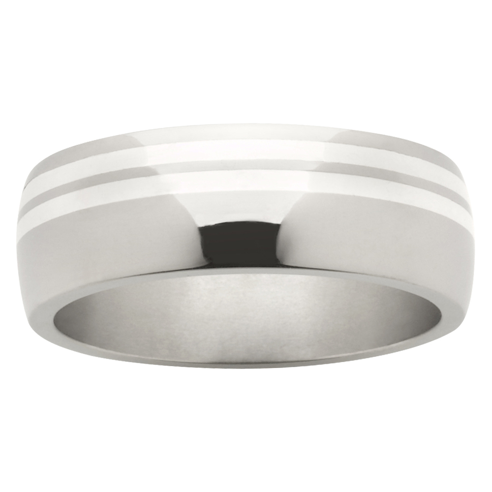 Double Off-Centre Stripe Titanium White Gold Mens Ring