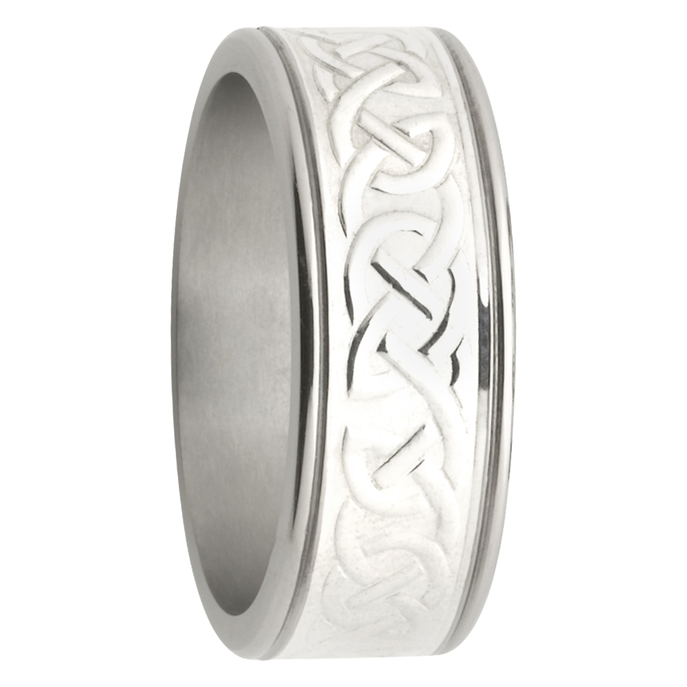 Celtic Pattern Titanium White Gold Mens Ring