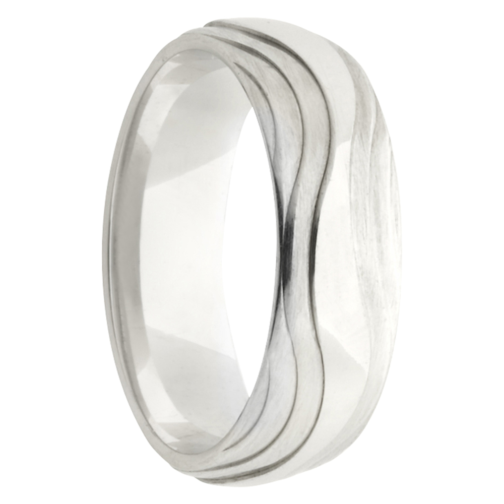 Wavy Layers White Gold Mens Wedding Band