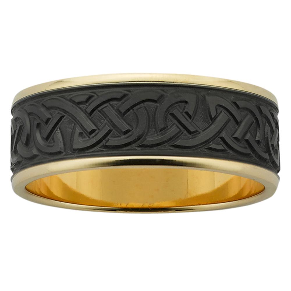 Engraved Celtic Yellow Gold & Zirconium Mens Ring