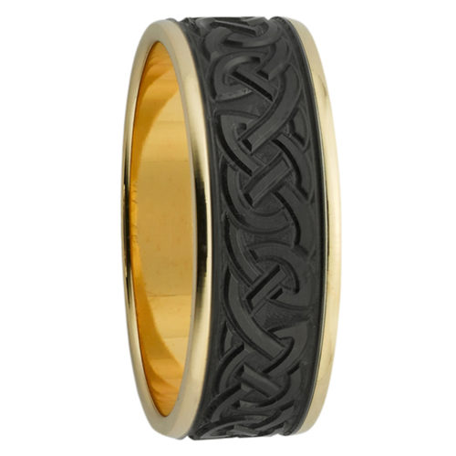 Engraved Celtic Yellow Gold & Zirconium Mens Ring