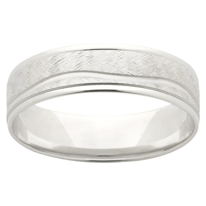 Textured Wavy Groove White Gold Mens Ring