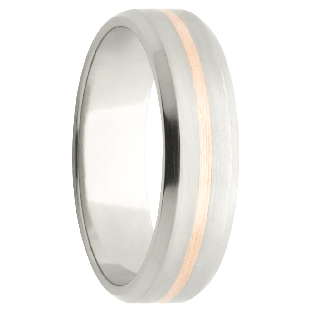 Titanium Pastel Rose White Gold Mens Ring