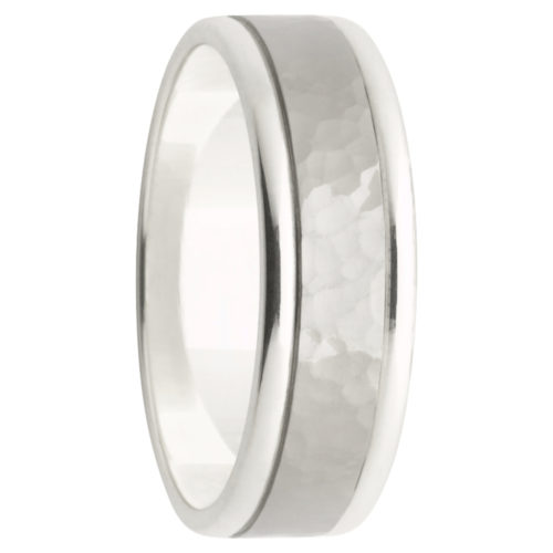 Hammered Centre White Gold with Titanium Mens Ring