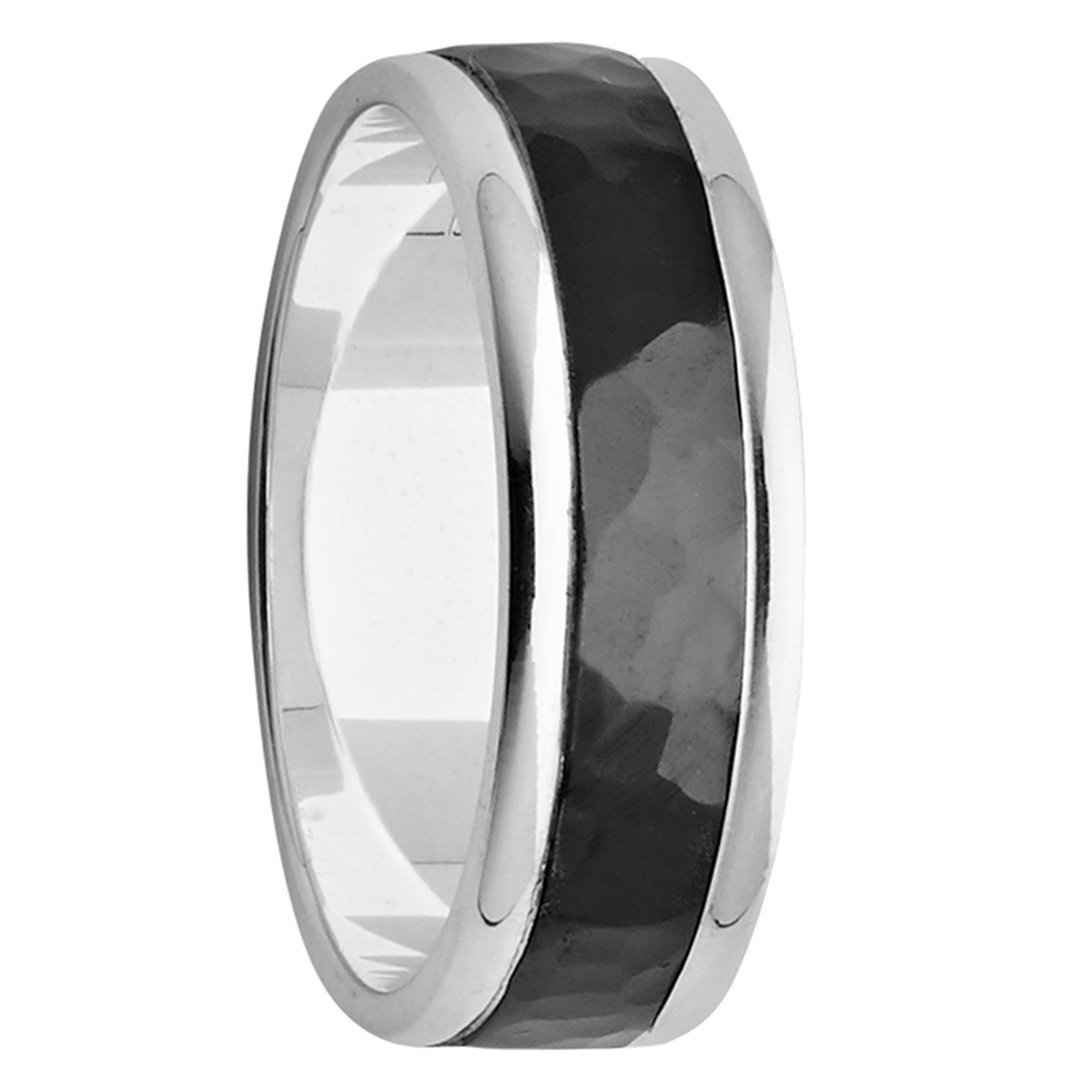 7mm White Gold Ring with Hammered Black Zirconium Centre