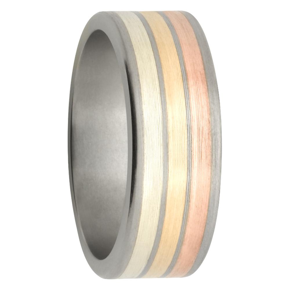 Ombre Titanium Rose White Yellow Gold Mens Ring