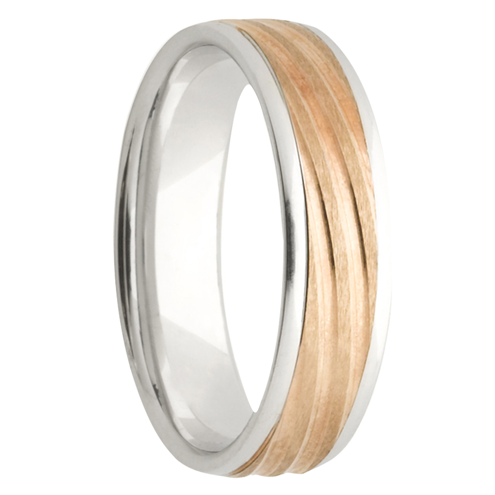 Dimensional Inlay Rose White Gold Mens Ring
