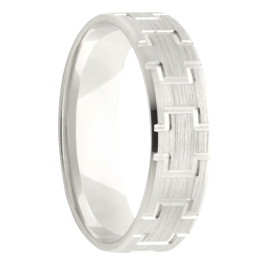 Art Deco Pattern White Gold Mens Wedding Band