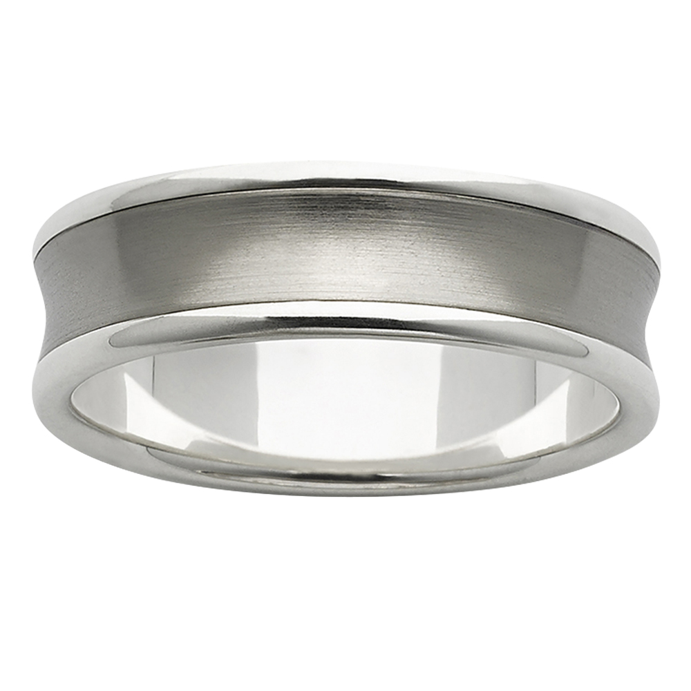 Concave Inlay White Gold with Titanium Mens Ring