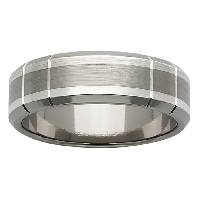 Industrial Vertical Grooves Titanium White Gold Mens Ring