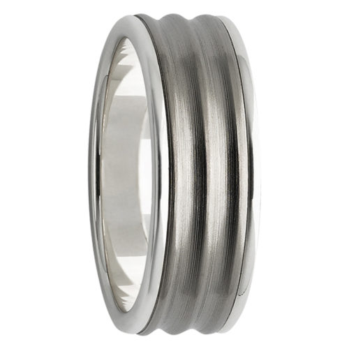 3D Finish 9ct White Gold with Titanium Mens Ring
