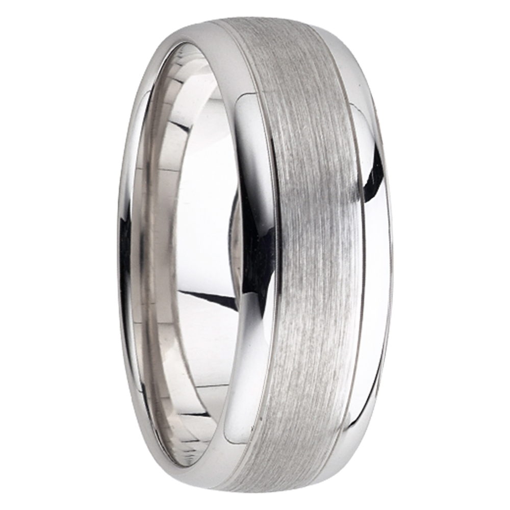 It is just a picture of Brushed Polished White Gold Mens Wedding Band