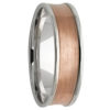 White & Rose Gold Concave Inlay Mens Wedding Band