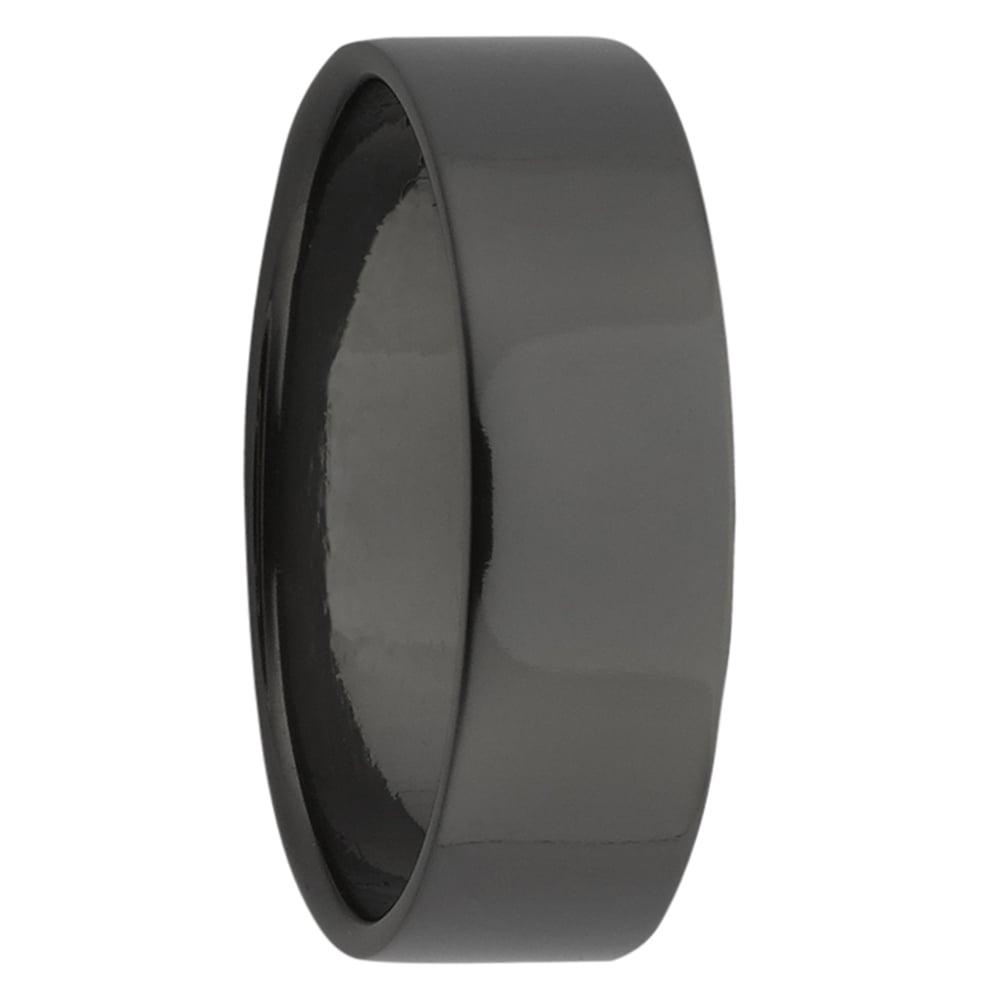 Soft Edge Flat Black Zirconium Mens Ring