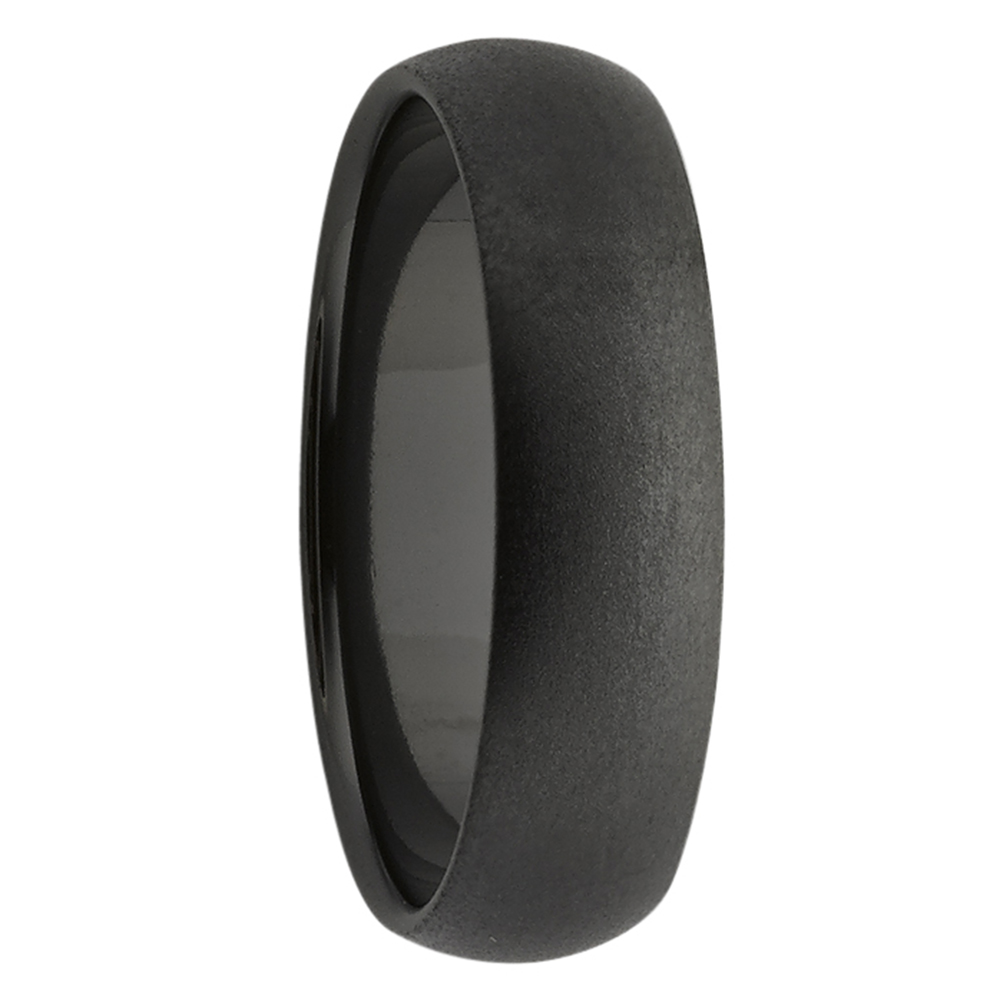 High Dome Black Zirconium Mens Ring