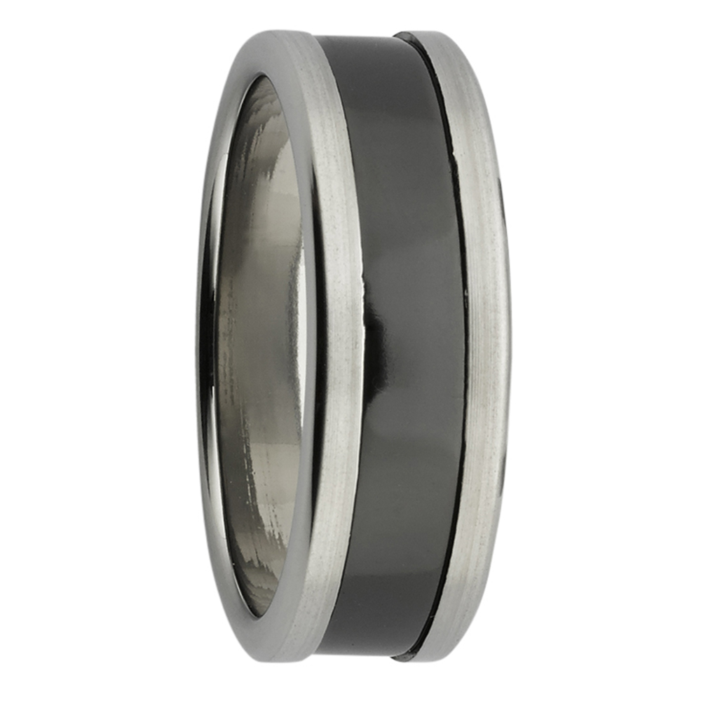 Sanded Finish Titanium & Zirconium Mens Ring
