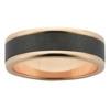 Polished Rose Gold & Sanded Black Zirconium Mens Ring