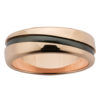 Diagonal Stripe Rose Gold & Black Zirconium Mens Ring