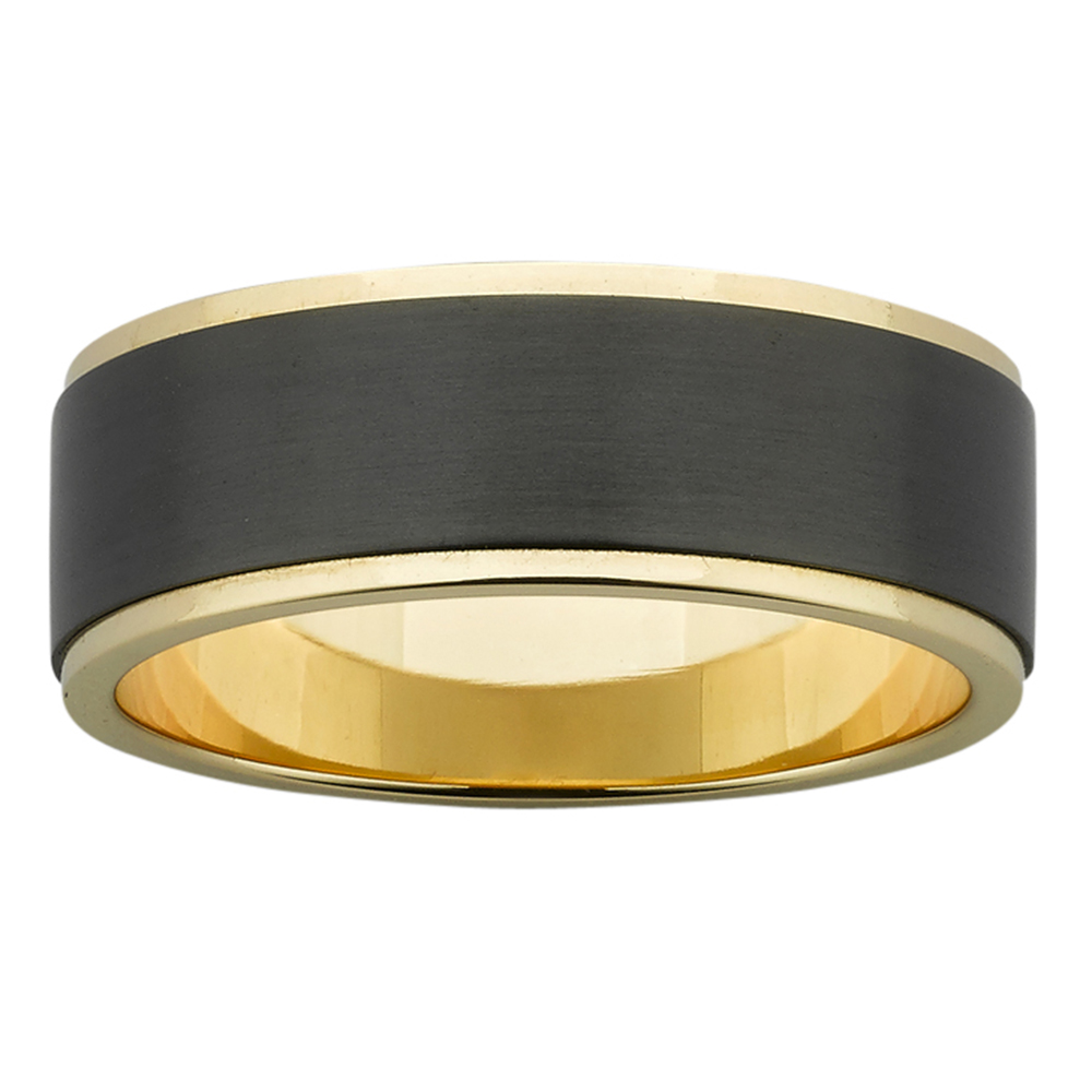 Sanded Zirconium & Polished Yellow Gold Mens Ring