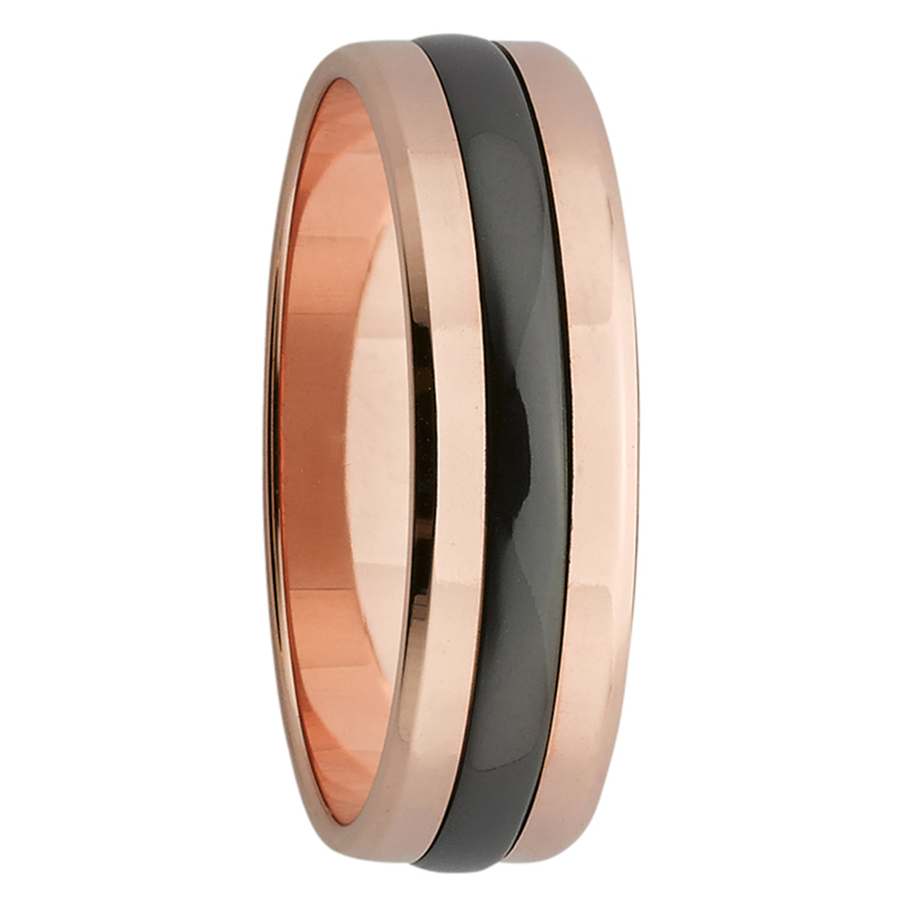 Rose Gold & Zirconium Stripe Mens Ring