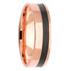 Rose Gold Black Zirconium Inlay Mens Ring