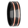 7mm Polished Black Zirconium Ring with Rose Gold Inlays
