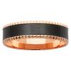 Cubic Trim Black Zirconium & Rose Gold Mens Ring