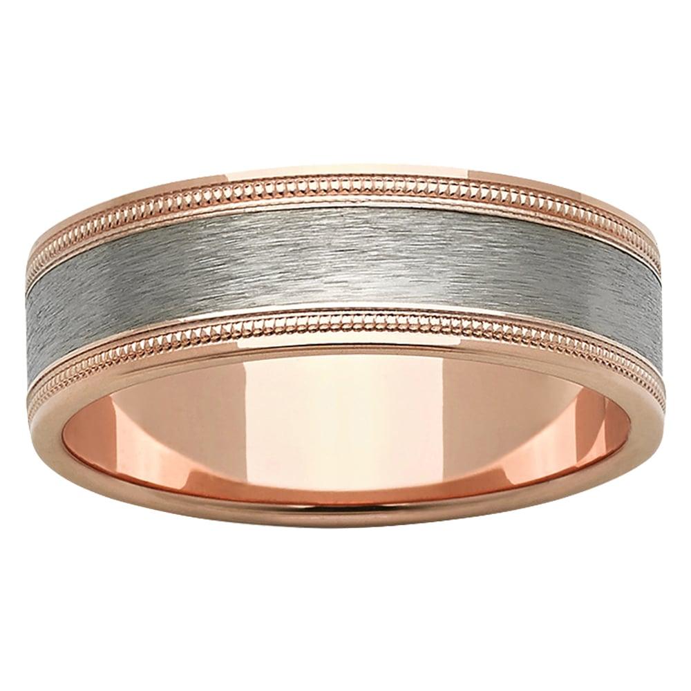 Ornamental Trim Rose Gold Titanium Mens Ring