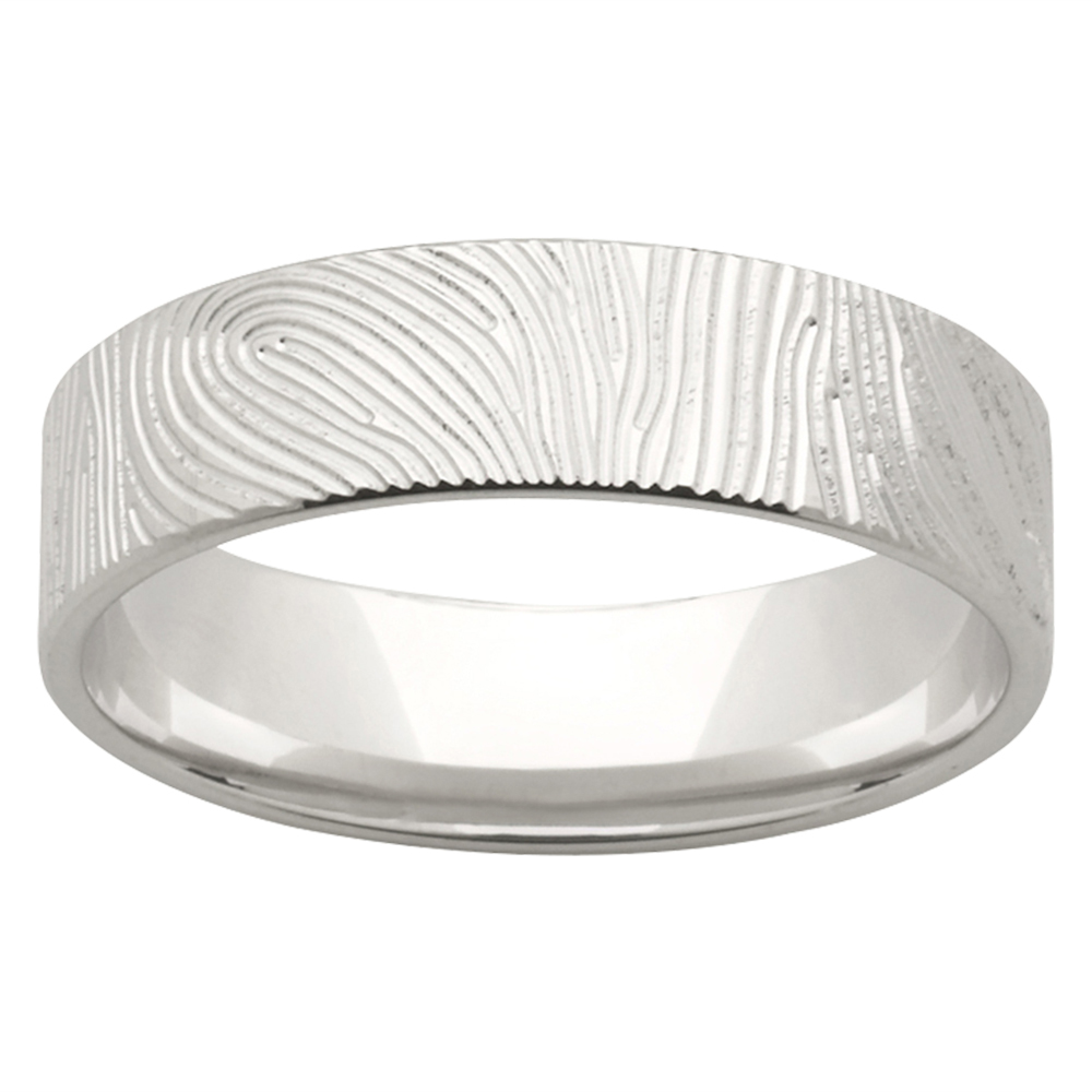 Wood Texture White Gold Mens Wedding Band