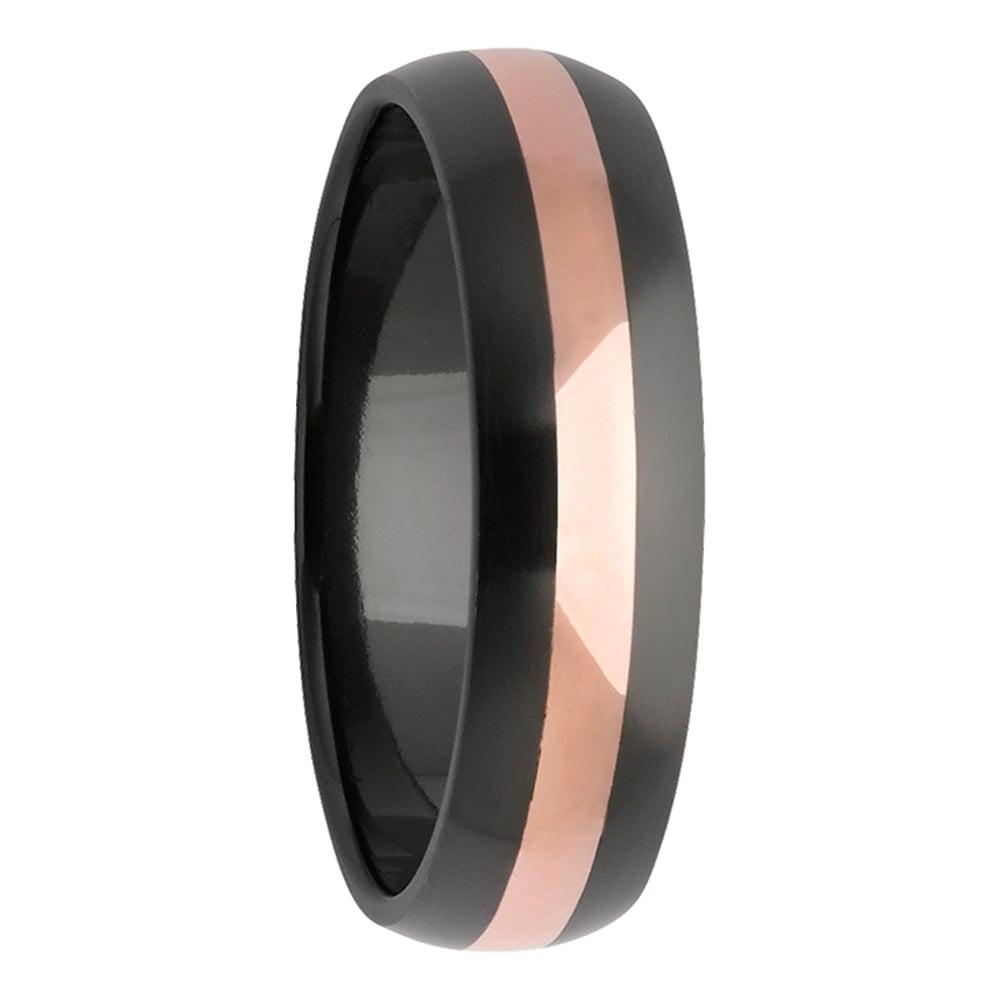 Black Zirconium Rose Gold Stripe Mens Ring