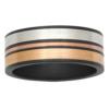 Color-Block Zirconium Multi-Tone Mens Ring