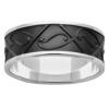 White Gold & Black Zirconium Koru Mens Ring