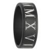 Roman Numerals Black Zirconium Mens Ring