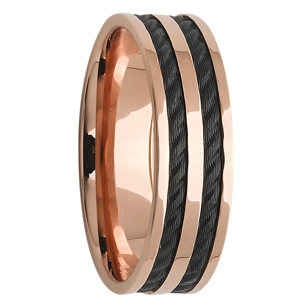Rope Effect Inlay Zirconium Rose Gold Mens Ring