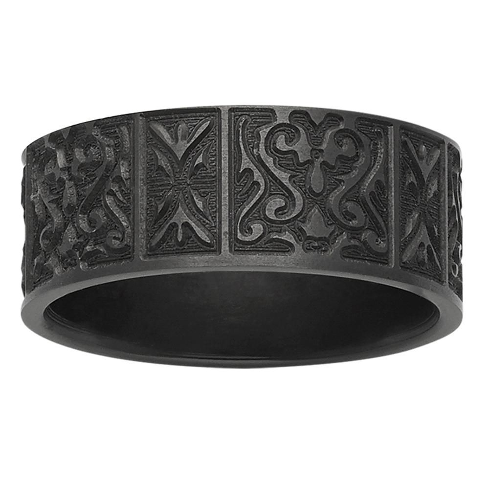 Damask Pattern Black Zirconium Mens Ring