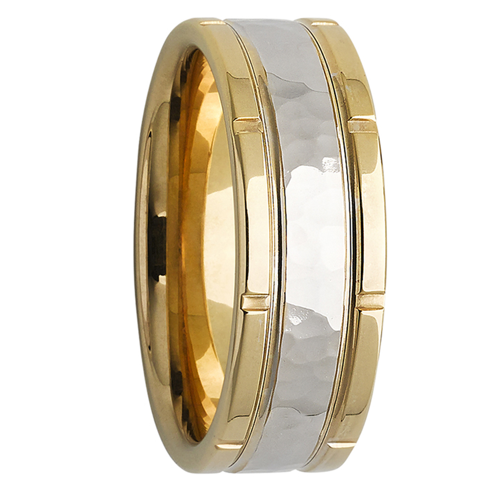 High-Gloss Yellow White Gold Mens Wedding Band
