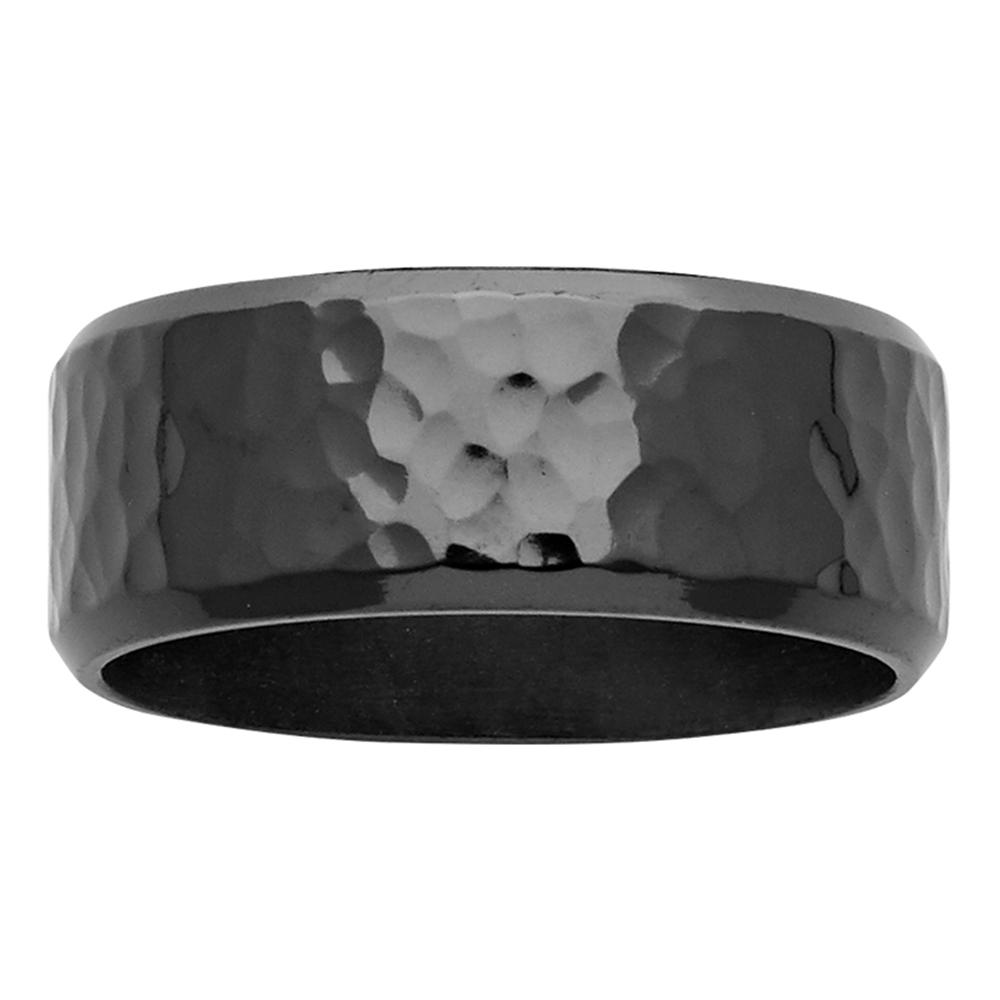 9mm Hammered Effect Zirconium Mens Ring