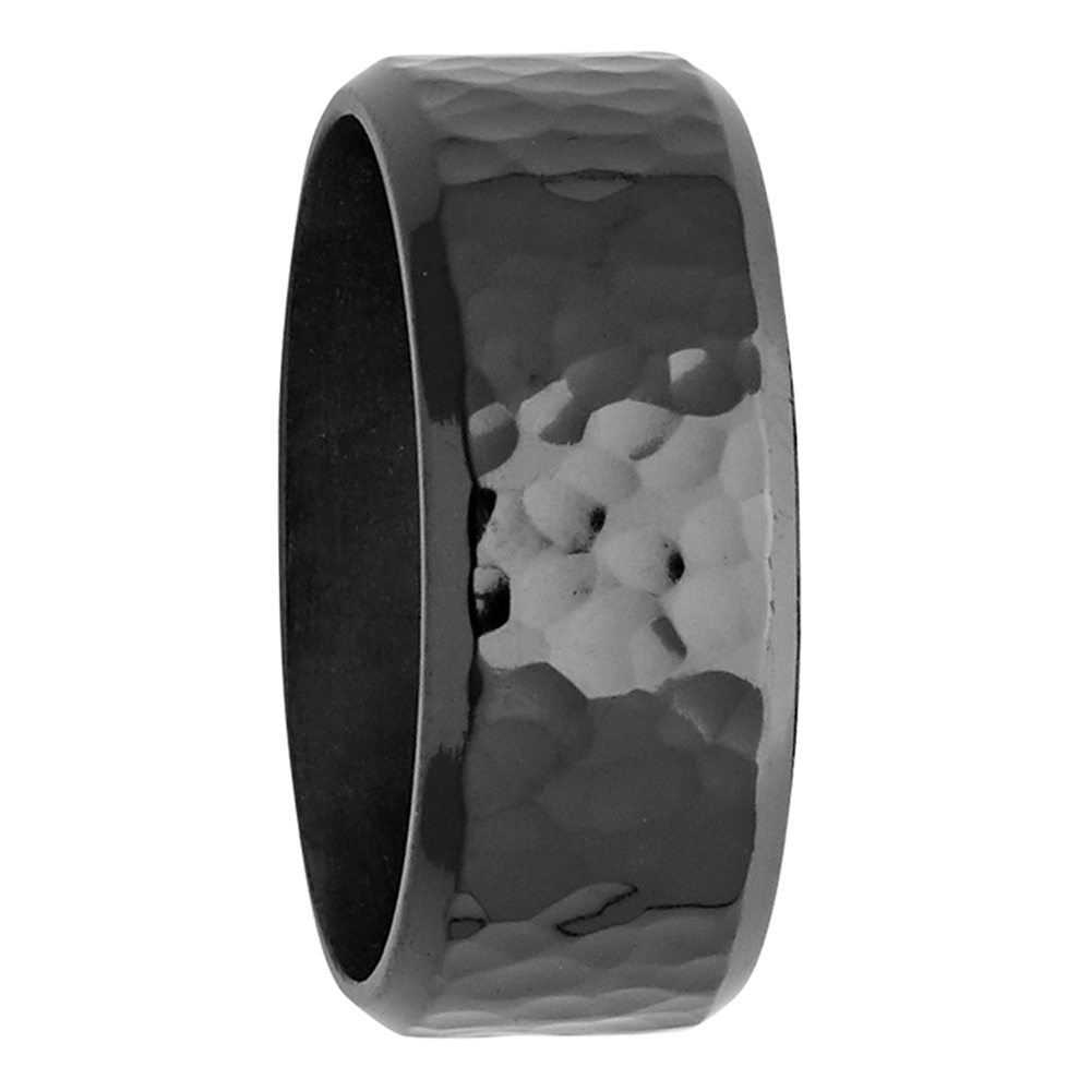 9mm Hammered Effect Zirconium Mens Ring