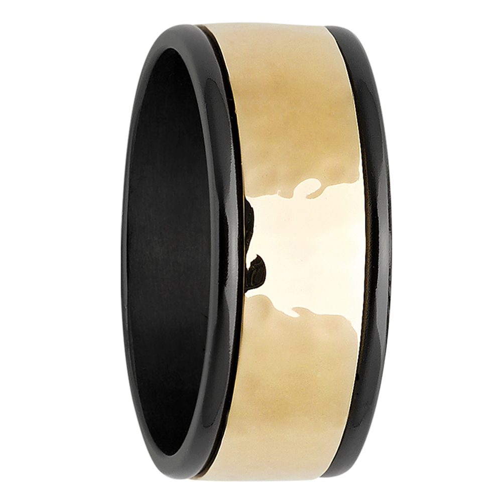 Yellow Gold & Zirconium Hammered Mens Ring