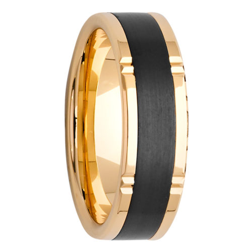 Vertical Grooves Yellow Gold & Black Zirconium Mens Ring