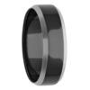 7mm Silver Tone Edge Black Zirconium Mens Ring