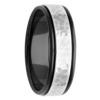 7mm Black Zirconium & Hammered White Gold Mens Ring