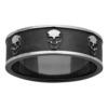 7mm Black & White 'Skull' Zirconium Ring