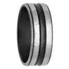 Hammered Texture White & Black Zirconium Ring